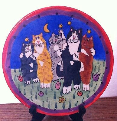 CATZILLA Ceramic Hug Fest Kitty Cat Feline Couples SALAD DECORATIVE PLATE 8""