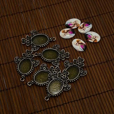 5sets 13x18mm Cartoon Photo Glass Oval Cabochons Alloy Pendant Rhinestone Blanks