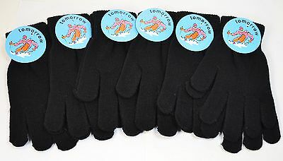 Black Winter Knit Magic Stretch Gloves (6 Pairs)