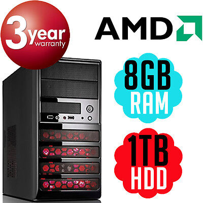 NEW CM-431 Custom Tower AMD A6-7400K 3.9GHz 8GB 1TB Desktop PC