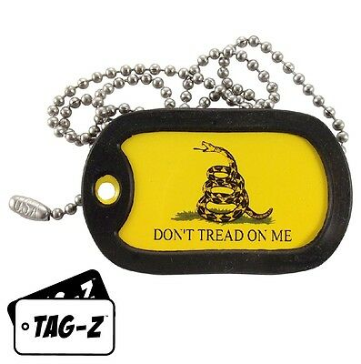 Military Dog Tag Necklace -  Gadsden Don't Tread On Me Tag w/ Dog Tag Silencer