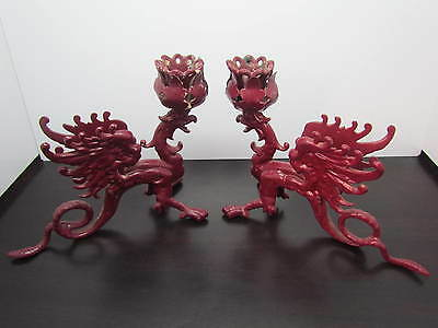 Vintage Cast Iron GRIFFIN Candle Candlestick Holders - Gothic Griffon Dragon