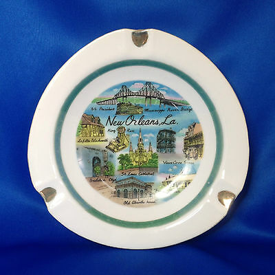 New Orleans Large Vintage Ashtray - King Rex, Old Absinthe House, French Market