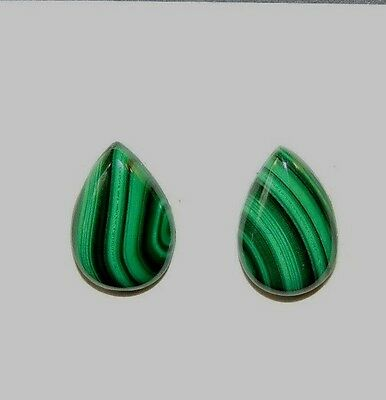 Malachite 10x15mm Cabochons Set of 2 from Africa (8493)