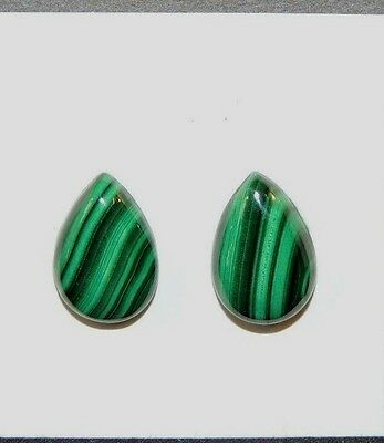 Malachite 10x15mm Cabochons Set of 2 from Africa (8492)