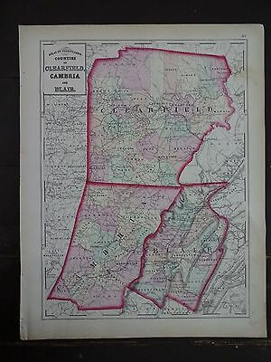 1872 Hand-Colored Map of PA/Counties of Clearfield, Cambria and Blair
