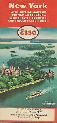 1957 ESSO OIL Thousand Islands Road Map NEW YORK Westchester County Finger Lakes