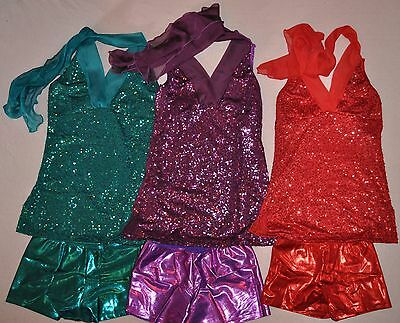 New Child  Sizes-Metallic 2 Pc Outfit- Dance  Performance Halter Top and Shorts