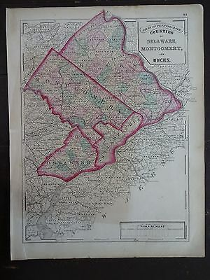 1872 Hand-Colored Map of PA/Counties of Delaware, Montgomery & Bucks