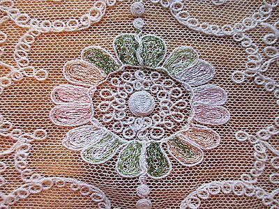 2 pc. Antique Ecru Tambor French Net Lace Table Runner- Dresser Scarf Set- EUC!