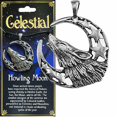 Amulet HOWLING WOLF MOON Pewter & Black Cord Animal Totem Wicca Native Am