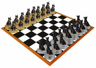 Hand Painted Stone Resin Black Doberman Figurine Chess Set - Board Not Included