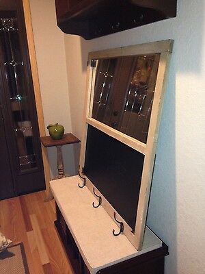 Very nice antique wood window framed mirror/chalkboard/coat rack
