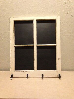 Antique window framed chalkboard and jacket/key rack