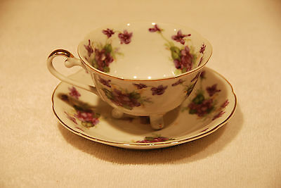 LEFTON CHINA Ornate Footed Tea Cup & Saucer / Hand Painted Purple Floral Design