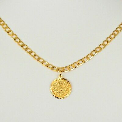 Mens Coin Medallion Pendant Curb Chain Necklace 24k Gold Plated Chains 20mm Coin