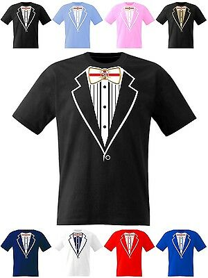 Tuxedo T Shirt Kids England Boys Girls Football Rugby Cricket Prom Fancy Dress