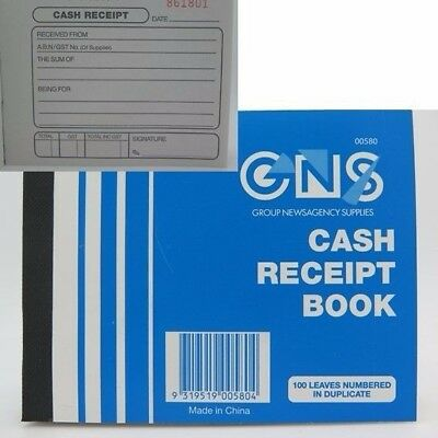 GNS Cash Receipt Book Duplicate 125x100mm 100 Leaf 00580**