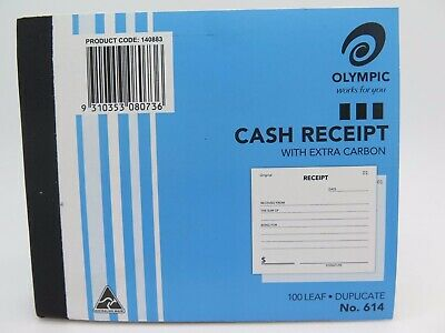 3 x Olympic #614 Cash Receipt Book Duplicate 125x100mm 100Lf 140883.