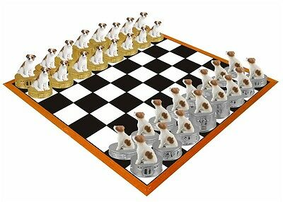 Hand PaintedJack Russell Terrier Figurine Chess Set - Board not Included