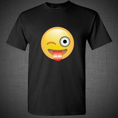 Emoji Emotion Faces Smily winking face funny cute sweet t shirt tank top tee