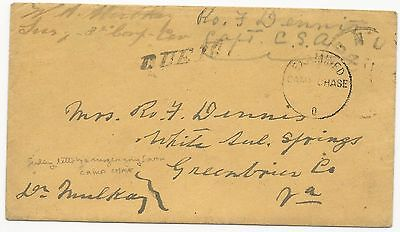 CSA POW Cover w/ Letter North-to-South Camp Chase Examined Due 10 Handstamp