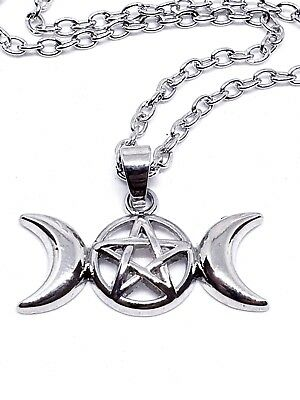 """Triple Moon Pendant Goddess Pagan Wiccan Pentacle Star 18"""" Necklace UK Seller"""