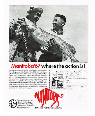 1967 Ad Canada's Centennial Year, Manitoba '67 . Unexcelled Fishing. Vacation.