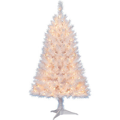 4 Ft PRE-LIT INDIANA SPRUCE WHITE CHRISTMAS TREE 173 TIPS 150 LIGHTS NEW CLEAR