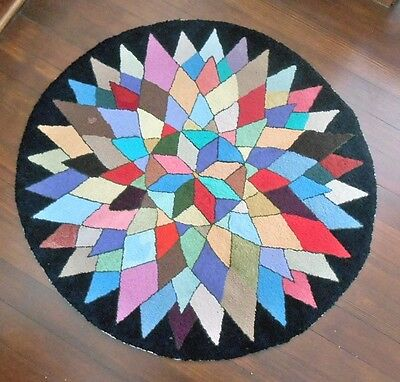 Antique Hooked Rug Geometric Star 1940S Hand Hooked Folk Art