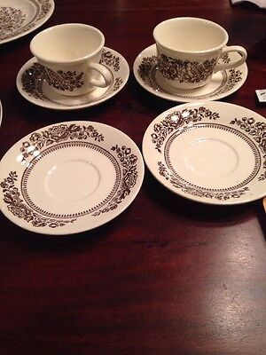 Vintage Royal China Sussex Cavalier Ironstone Cups And Saucers