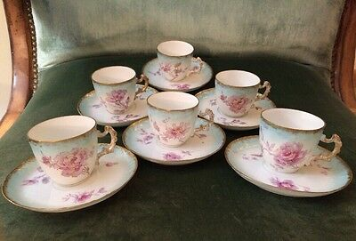 Antique Limoges LS&S Coffee Set 6 Cups & 6 Saucers/ Plates 19th C France