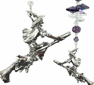 WITCH ON BROOMSTICK CRYSTAL SUNCATCHER wiccan gift, car mirror, window hanging