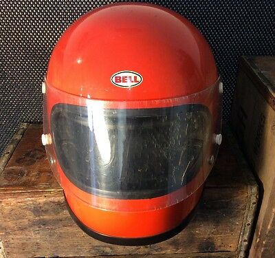 Vintage 1970 Bell Star Full Face Motorcycle Helmet with Shield Size 7 1/2 Orange