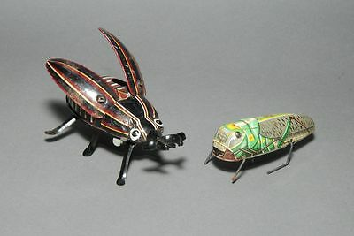 Vintage Tin Beetle and Grasshopper  Windup Toys