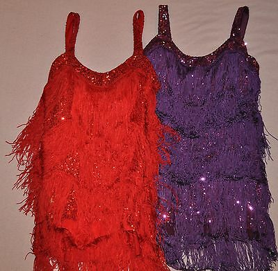 New  Adult Sizes Small or Medium Red or Purple Can Can dance Dress with fringe