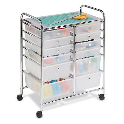 12-Drawer Semi-Transparent Chrome Storage Cart Organize Art Craft Home Office Sc