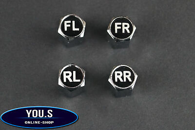 4 Valve Caps With Tyre Label Marking For Cars Trucks - New - English Version
