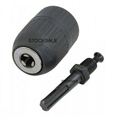"NEW  1/2"" 2mm TO 13mm KEYLESS DRILL CHUCK WITH SDS ADAPTOR - MAKITA, BOSCH ETC"