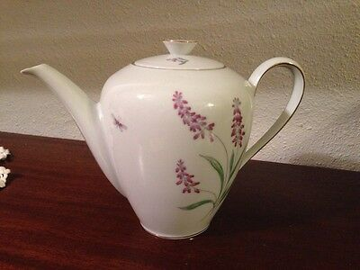 KPM Krister Germany Tea Pot With Lid Dragon Fly Floral Flowers