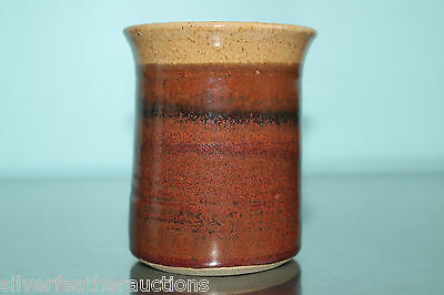 Brown earthenware handmade signed pottery pencil holder, ribbed stocking stuffer