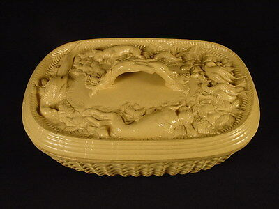 RARE EARLY 1800s TWIG HANDLE BASKET WEAVE GAME DISH YELLOW WARE