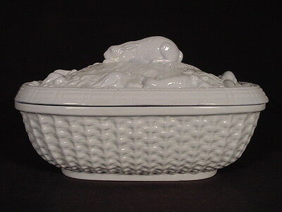 EXTREMELY RARE EARLY 1800s BLUE GLAZE BASKET WEAVE GAME DISH YELLOW WARE MINT