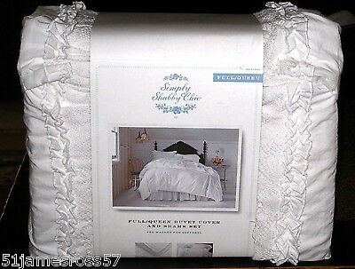 Simply Shabby Chic PIECED MESH White Lace FULL/Queen DUVET COVER & Shams