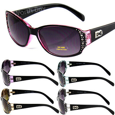 New DG Eyewear Womens Rhinestones Sunglasses Designer Shades Fashion Small Wrap