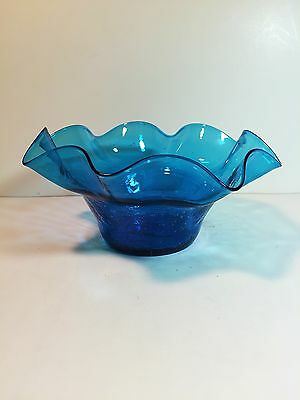 Vintage Hand Blown Blue Crackle Glass Bowl Ruffle Edge Scallop