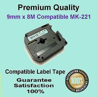 1x Compatible P-Touch Thermal Tape for Brother M-K221 Black on White 9mm x 8m