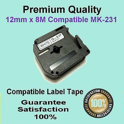 1x Compatible P-Touch Thermal Tape for Brother M-K231 Black on White 12mm x 8m