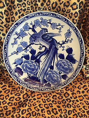 Large Asian Wall Hanging Charger Platter Plate Porcelain Floral Flowers Birds