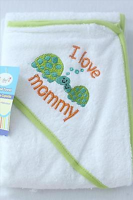 NEW Superior Quality 350GSM 100% cotton Baby Hooded Towel Embroidered Pattern 6